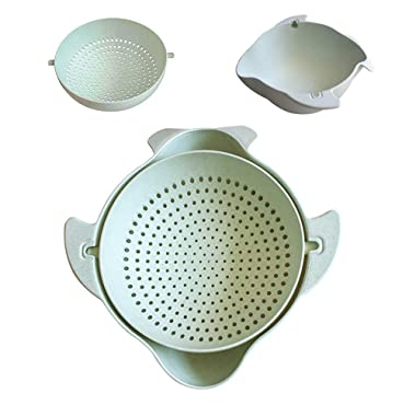 Lidard Kitchen Colander, Small Strainers and Colanders, 2 in 1 Strainer Colanders Set, Plastic Fruit Washing Bowl, Green