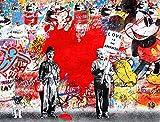 """Bellissime stampe artistiche su strada graffiti, immagini astratte, disegni creativi, colori alla moda sulle pareti della città, arredamento contemporaneo per soggiorno, camera da letto.,40"""" X 28"""""""