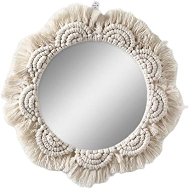 Rosydream Wall Hanging Mirror Boho Mirror with Fringe Round Mirror Art Ornament Decorative Makeup Mirror for Apartment Living