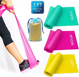 Coolrunner 7FT. Long Latex Free Elastic Flat Exercise Band Set of 3 with Carry Bag, Wide Fitness Resistance Bands for Pila...