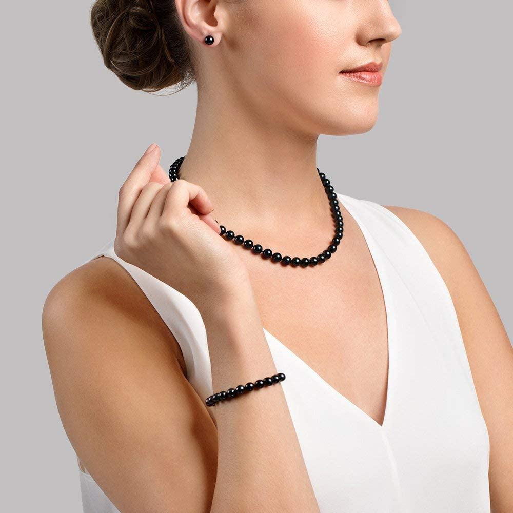 THE PEARL SOURCE 14K Gold 7-7.5mm Round Black Akoya Cultured Pearl Necklace, Bracelet & Earrings Set in 17