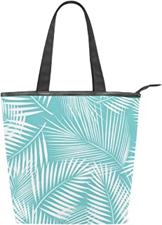 Mnsruu Große Handtasche aus Segeltuch, für den Strand, für Reisen, Einkaufen, Schultertasche, tropische Palmen, Blätter, Türkis, Sommerurlaub, Reißverschluss