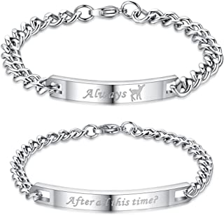 COAI His and Hers Stainless Steel Matching Couples Bracelets