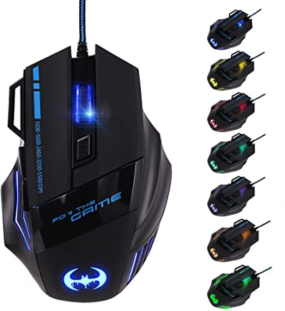 GHB Ratón Gaming USB Ratón Gamer LED 5000 dpi Optico Mouse Profesional 7 Botón para PC Notebook Ordenador Portátil Compatible con Windows 7, 8, 10,Windows XP, Vista, ME, 2000 y Mac OS, último Sistema