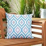 Gefülltes Kissen Blau Grau Geometrisches Design Wasserdicht Für Draußen Gartenmöbel