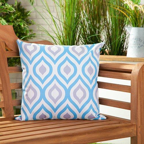 Gardenista Cojín Relleno Resistente al Agua y para Exteriores | Diseño con Patrones Coloridos | Accesorio para Muebles de Jardín| Almohadas Decorativas de | 45 x 45 cm (1 Pieza, Blue/Grey)