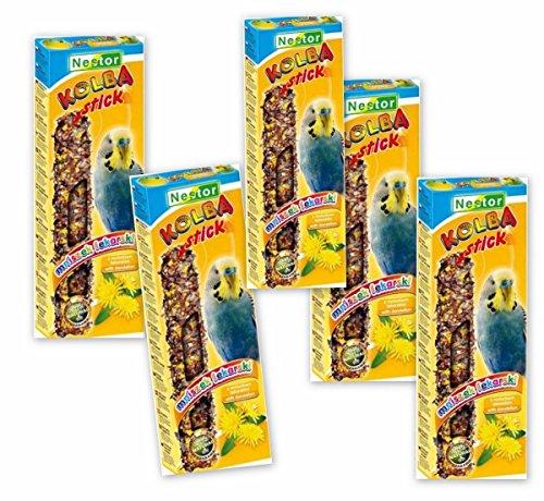 NESTOR Vogelfutter für Wellensittiche mit Löwenzahn 5 Packungen Knabbersticks