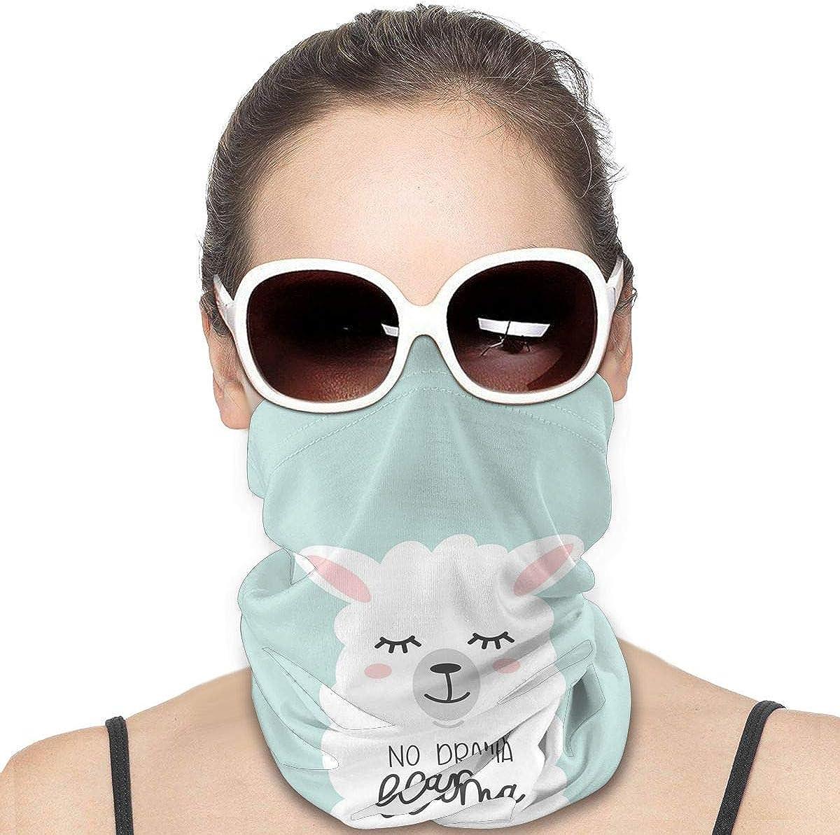 KiuLoam Women Bandanas Face Mask, No Drama Cute Llama Neck Gaiter Mask Headband for Men Face Scarf Dust, Outdoors, Sports