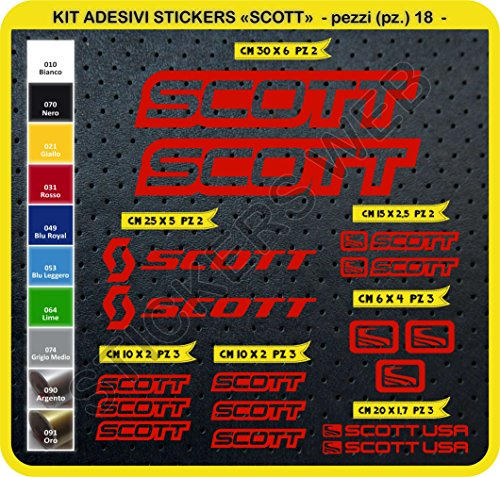 Pimastickerslab zelfklevende sticker Kit Bike Scott Sticker 18 SCEGLI verhit Colore- Bike Cycle PEGATINA Cod. 0112