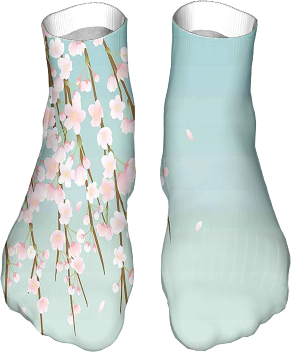 Men's and Women's Fun Socks Printed Cool Novelty Funny Socks,Freshly Blooming Cherry Blossom Branches with Flower Buds