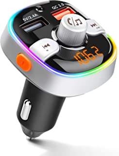 ZEEPORTE Bluetooth FM Transmitter for Car, QC3.0 Wireless Radio Bluetooth Adapter Music Player Charger Car Kit with Hands Free, 7-Colors LED Backlit, 2 USB Ports, Support TF Card USB Flash Drive