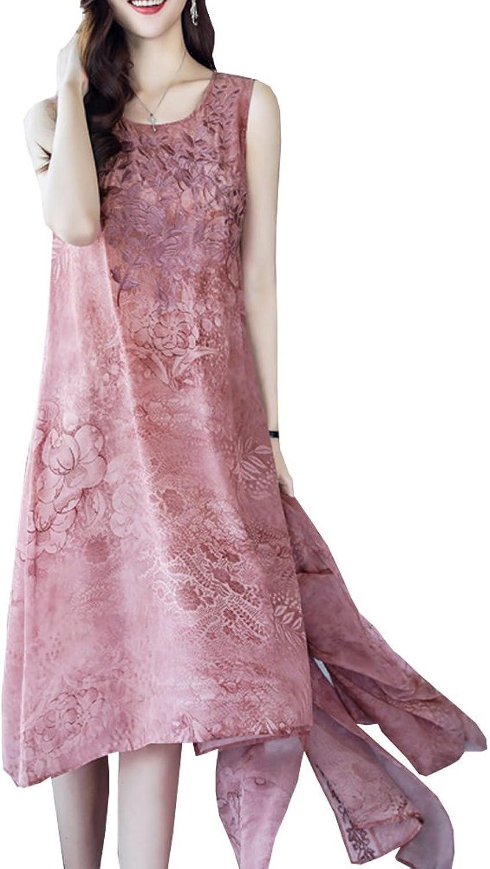 Dissa S8802 Women Vintage 3 4 Sleeve Midi Cocktail Plus Size Silk Summer Dress
