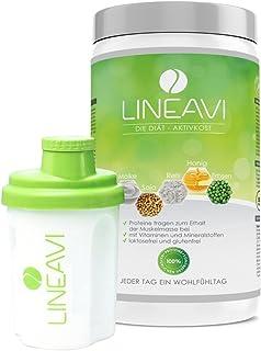 LINEAVI dieta aktywna, Abnehm Shake o przyjemnym smaku, zamiennik posiłków z soi, grochu, ryżu i serwatki, bez laktozy i g...