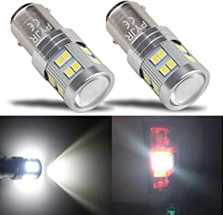 1157 Led Bulb White, 7528 2057 2357 1016 1034 P21/5W Led Bulb, Super Bright 1000 Lm, PYJR Ac/Dc 10-30V, With Projector, For Back Up/Reverse Lights, Tail/Brake Lights, Xenon White (Pack Of 2)