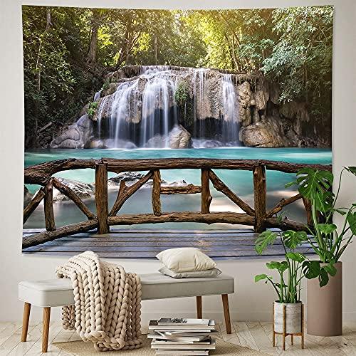 PPOU Hermosa Cascada Colgante de Pared Bosque hogar Arte Tapiz Hippie Estilo Bohemio Fondo Tela Manta Tela Colgante A2 73x95cm