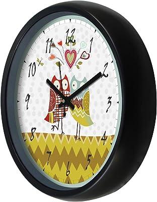 Amazon Brand - Solimo Plastic Pop owl Wall Clock - (12-inch, Black, Silent Movement)