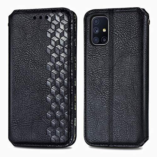 TOPOFU Leder Folio Hülle für Samsung Galaxy M51, Premium PU/TPU Flip Wallet Tasche mit Kartenfächern, Magnetic, Book Style Lederhülle Handyhülle Schutzhülle (Schwarz)