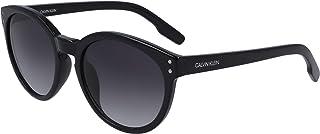 Calvin Klein Women's CK19537S Round Sunglasses, Black/Grey, 53 mm