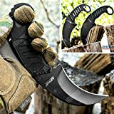 Tactical Knife Hunting Knife Survival Knife 7.5 Inch Karambit G10 Handle Full Tang Fixed Blade Knife Camping Accessories Camping Gear Survival Kit Survival Gear Tactical Gear 78203 (Black - Black)