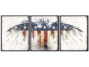 Patriotic Decor - American Eagle Wall Decor - American Flag Wall Decor - Patriotic Decorations - USA Wall Art - Patriotic Gifts for Marine, USMC, Army, Air Force, Navy Veteran - 8x10 Poster Set