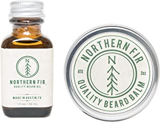 Northern Fir Beard Oil & Balm Kit - All Natural Leave in Conditioner with Argan and Jojoba Oils - Softens and Promotes Healthy Beard & Mustache Growth for Men