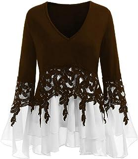 TIFIY Maglietta da Donna a Manica Lunga Stampata con Orlo Irregolare Elegante Sexy Casual Tops Blusa Taglie Forti Maglia M...