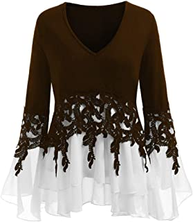 Womens Long Sleeve Plus Size Casual Applique Flowy Chiffon V-Neck Blouse Tops