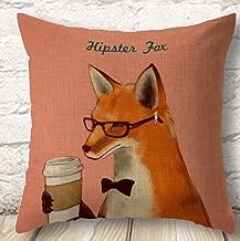 OebTrol The Lovely Animal The Fashion Fox Drink Coffee Throw Pillow Case Cushion Cover Decorative Cotton Blend Linen Pillowcase for Sofa 18X 18 (3)