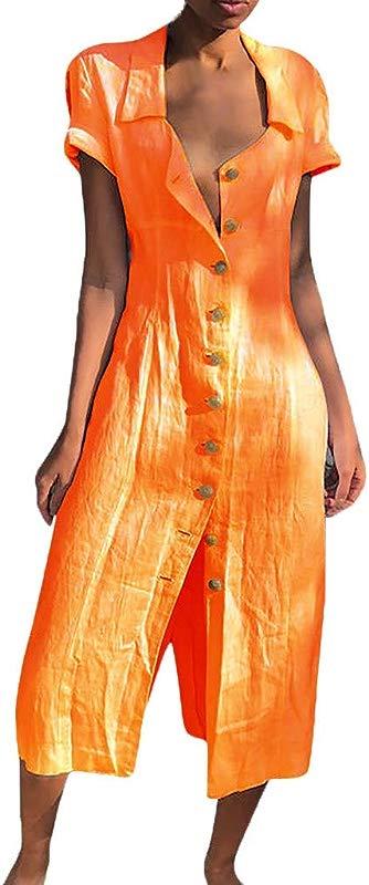 Staron Womens Casual Solid Button Dress Maxi Dresses Short Sleeve Summer Beach Long Dress