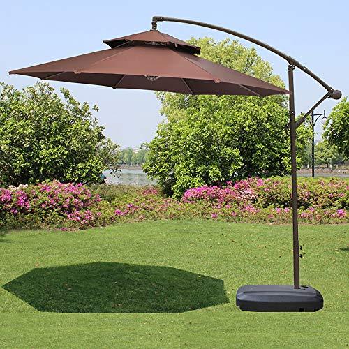 YXLZ luxe excentrische dubbele paraplu - 2,7 m vrijstaand terras, hangende paraplu tuinscherm buitenshuis marktscherm, frame ijzeren hoofdframe, watertank met riemschijf coffee