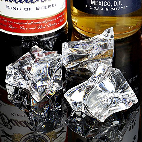 bar@drinkstuff Künstliche Acryl-Eisstücke, Deko-Eiswürfel für Dekorationen, 1 kg, Beutel mit 60 Stück (ca.)