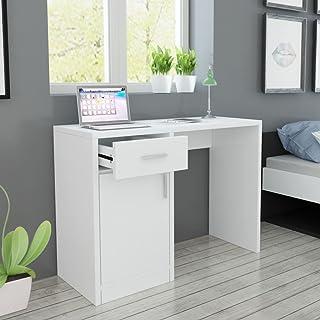 Zora Walter Bureau avec tiroir et Armoire Blanc Console avec 1 tiroir et 1 Armoire - Dimensions : 100 x 40 x 73 cm