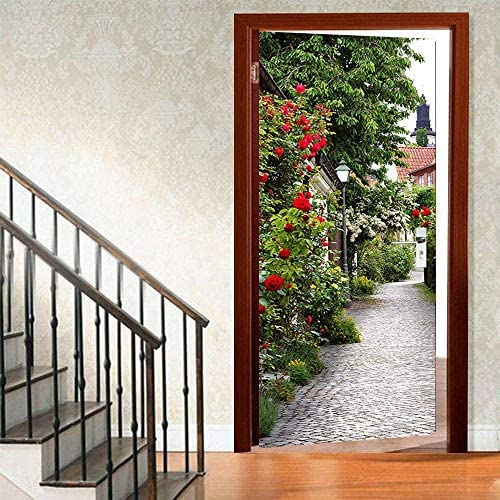 Chic Rose Flower Leaves Town Door Wallpaper Murals Wall Stickers Vintage Romantic Rose Flower product image