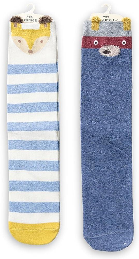 HaloVa Kids Stockings, Unisex Warm Cartoon Cotton Knee High Socks, 2 Pairs