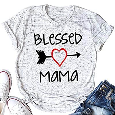 YUYUEYUE Women's Blessed Mama Letters T Shirt Short Sleeve Tops Tee