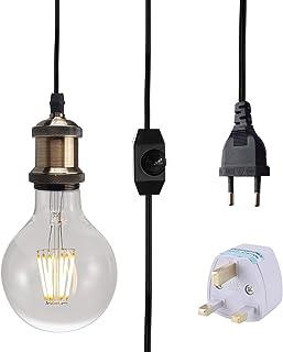 Iluminación colgante regulable, lámpara colgante industrial Edison E27 vintage con botón de ENCENDIDO/APAGADO, tomacorrientes Eur AC (sin bombilla incluida) (bronze)