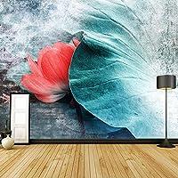 3D壁画新しい中国風ロータスリーフフラワー手描きアート壁画研究リビングルーム寝室壁紙家の装飾-400x280cm