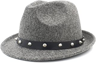 100% Woolen Hat for Women Men Fedora Hat for Winter Autumn Elegant Lady Dad Cashmere Trilby Homburg Church Jazz Hat with Punk Belt WUXiaodanfhat (Color : Gray, Size : 57-58cm)