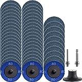 """NYXCL - Set di 50 dischi abrasivi Roloc a cambio rapido, 5,1 cm con supporto da 1/4"""", per smerigliatrice superficiale, finitura lucidata, sbavatura, rimozione di vernice, superficie condizionata"""