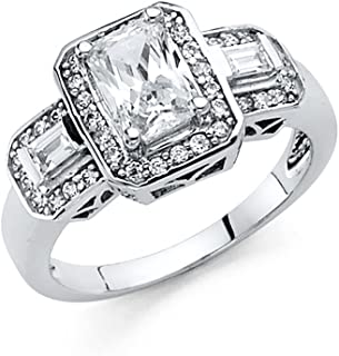 Paradise Jewelers 14K Solid White Gold Emerald-Cut Solitaire with Baguette and Round Side Stones Cubic Zirconia Engagement Ring