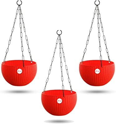 Kraft Seeds Hanging Planter Euro Elegance Round Solid Look and Feel Pots for Home & Balcony Garden 17.5cm Diameter (Pack of 3) Red