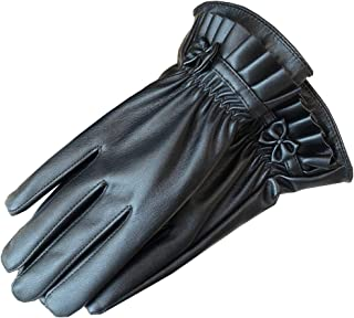 Ladies Leather Touch Screen Gloves Womens Winter Gloves Soft Warm Velvety Lining Gloves with One Bow and Fold Decoration (Black)