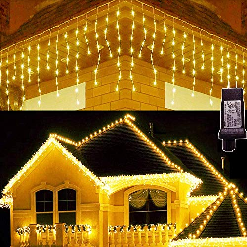 Hezbjiti 8 Modes LED Icicle Lights,65.6 FT 640 LED 120 Drops Fairy String Lights Plug in Extendable Curtain Light String Christmas Lights for Bedroom Patio Yard Garden Wedding Party (Warm White)