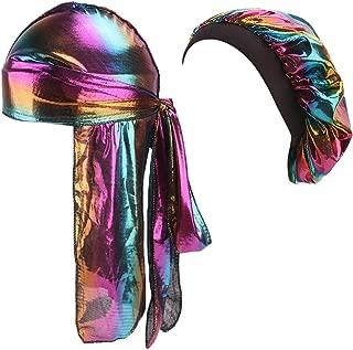 Hotme Silky Durags Pack for Men Women Waves Satin Hair Bonnet Sleeping Hat Holographic Do Rags Set
