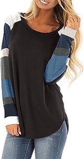 Yidarton Womens Tops Shirts Tunics Long Sleeve Casual Blouses Round Neck Loose Soft Striped Tunics