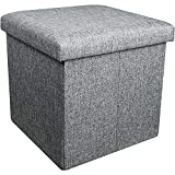 AmasSmile Storage Ottoman Cube, 15 inch Fabric Footstool Cube Boxes, Linen Small Coffee Table, Folding Storage Foot Rest for Chair, Padded with Memory Foam, Support 330 lbs, Dark Grey