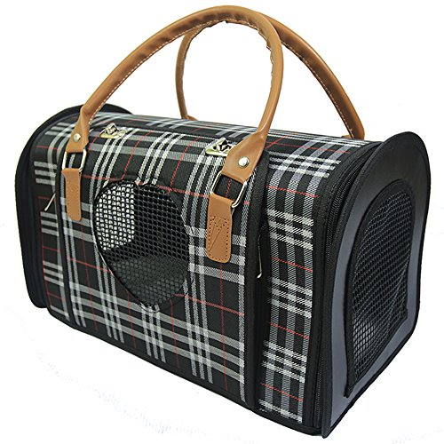 Radiant Pet Supplies Stylish Small Dog and Cat Portable Travel Carrier Hand Bag, Under the Seat Compatibility, Plaid Print