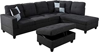 Lifestyle Furniture Right Facing 3PC Sectional Sofa Set,Black Grey(LSF125B)