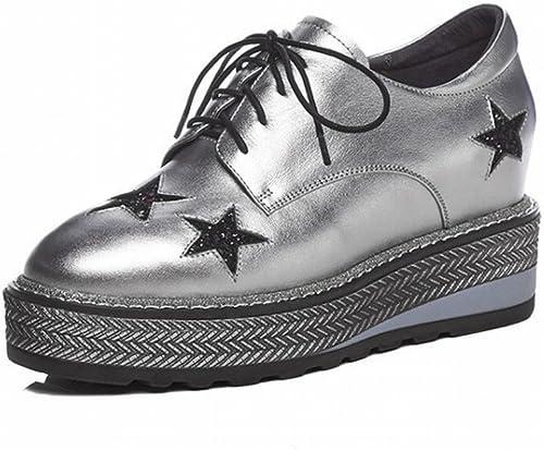 CXY Printemps Chaussures à à Talons Hauts en Cuir Rond à L'Intérieur Et à L'Extérieur de l'augHommestation de Cinq étoiles éponge de Gteau éponge dans la Femelle,Argent,34  qualité fantastique