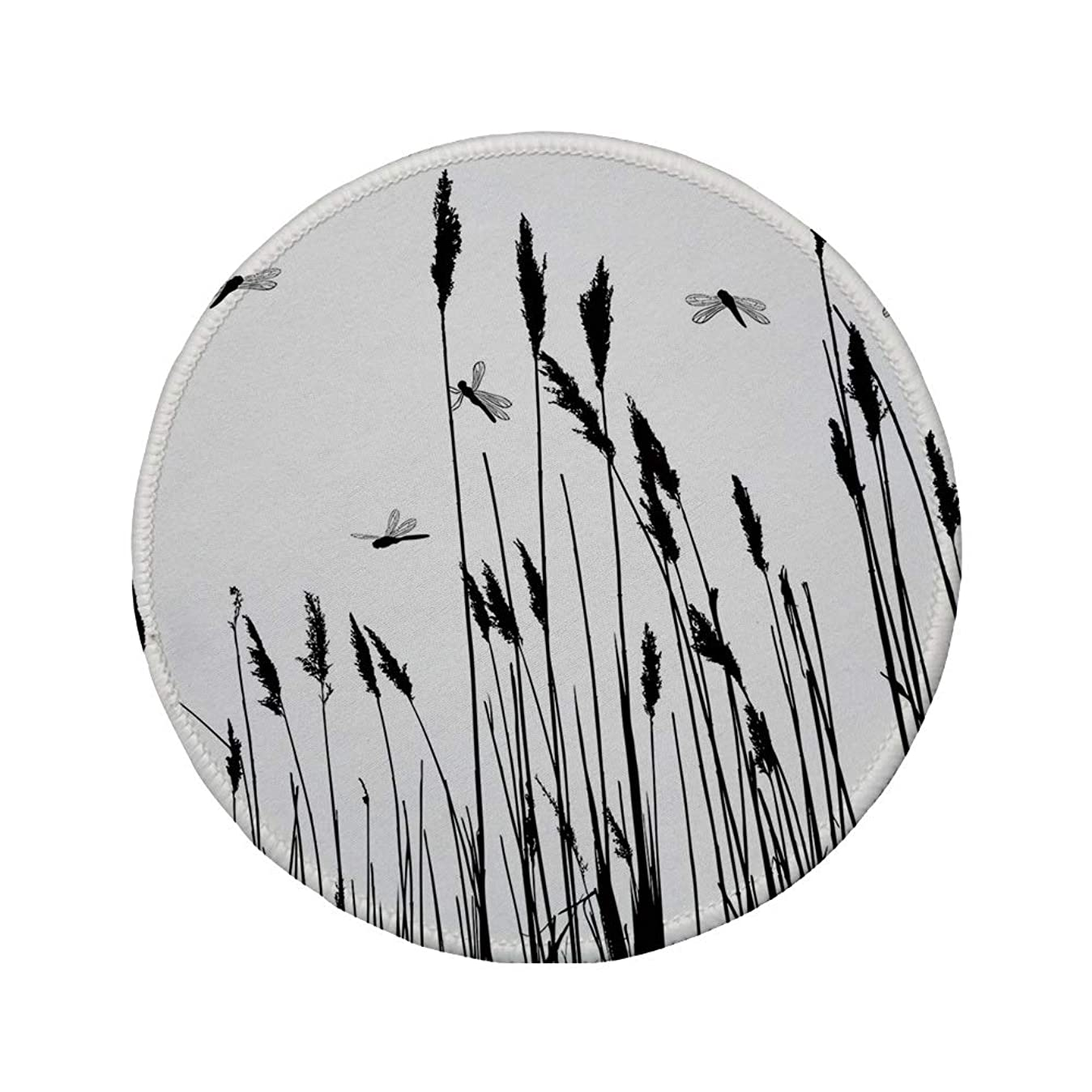 Non-Slip Rubber Round Mouse Pad,Dragonfly,Wheat Field Autumn Agriculture Background Nature Harvest Bush Herbs Theme Art Decorative,Black White,11.8